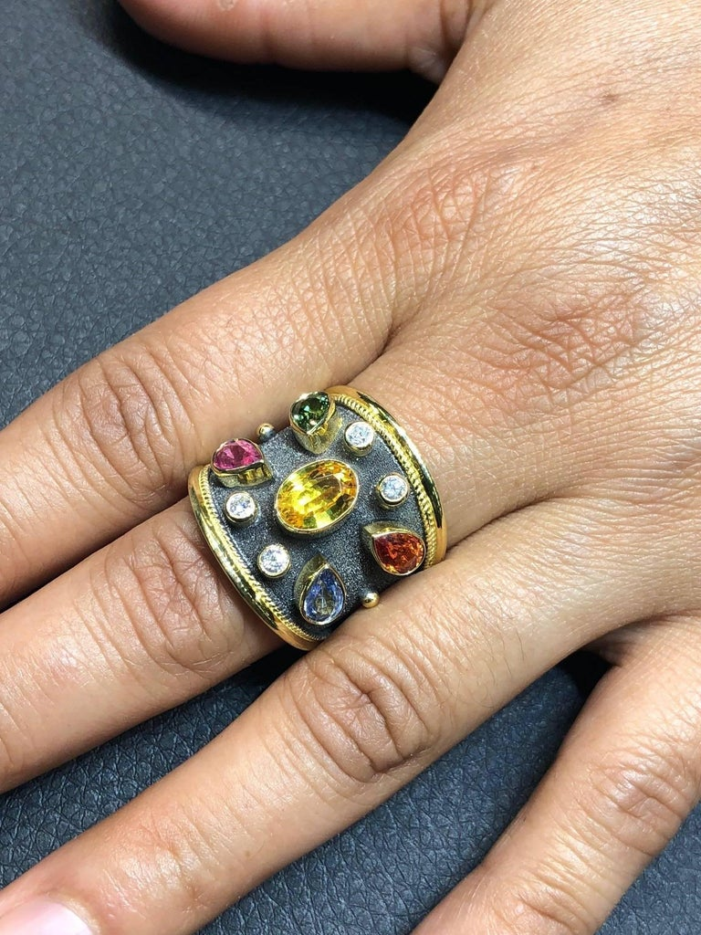 Georgios Collections 18 Karat Yellow Gold Diamonds and Sapphires Two-Tone Ring In New Condition For Sale In Astoria, NY