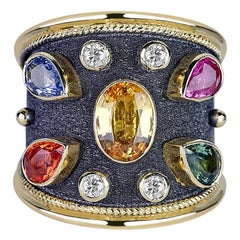 Georgios Collections 18 Karat Yellow Gold Diamonds and Sapphires Two-Tone Ring