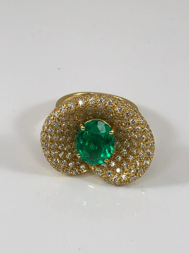 Contemporary Georgios Collections 18 Karat Yellow Gold Ring with Emerald and Diamonds For Sale