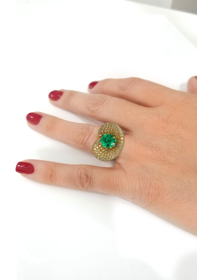 Oval Cut Georgios Collections 18 Karat Yellow Gold Ring with Emerald and Diamonds For Sale