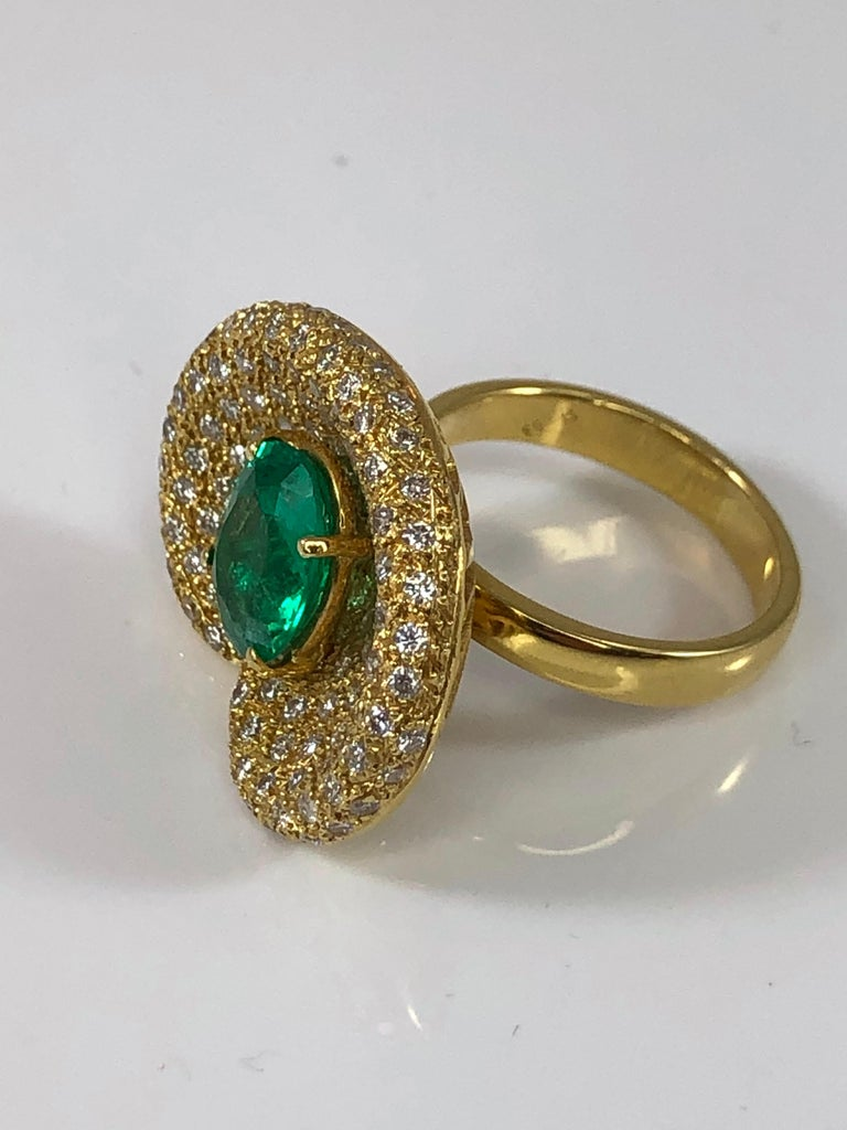 Women's Georgios Collections 18 Karat Yellow Gold Ring with Emerald and Diamonds For Sale