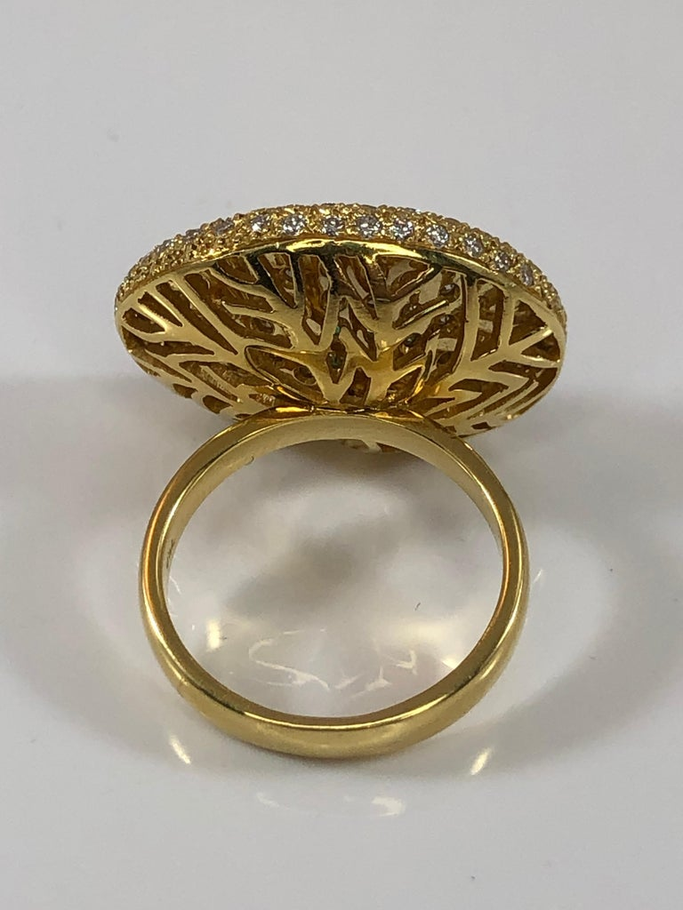 Georgios Collections 18 Karat Yellow Gold Ring with Emerald and Diamonds For Sale 1
