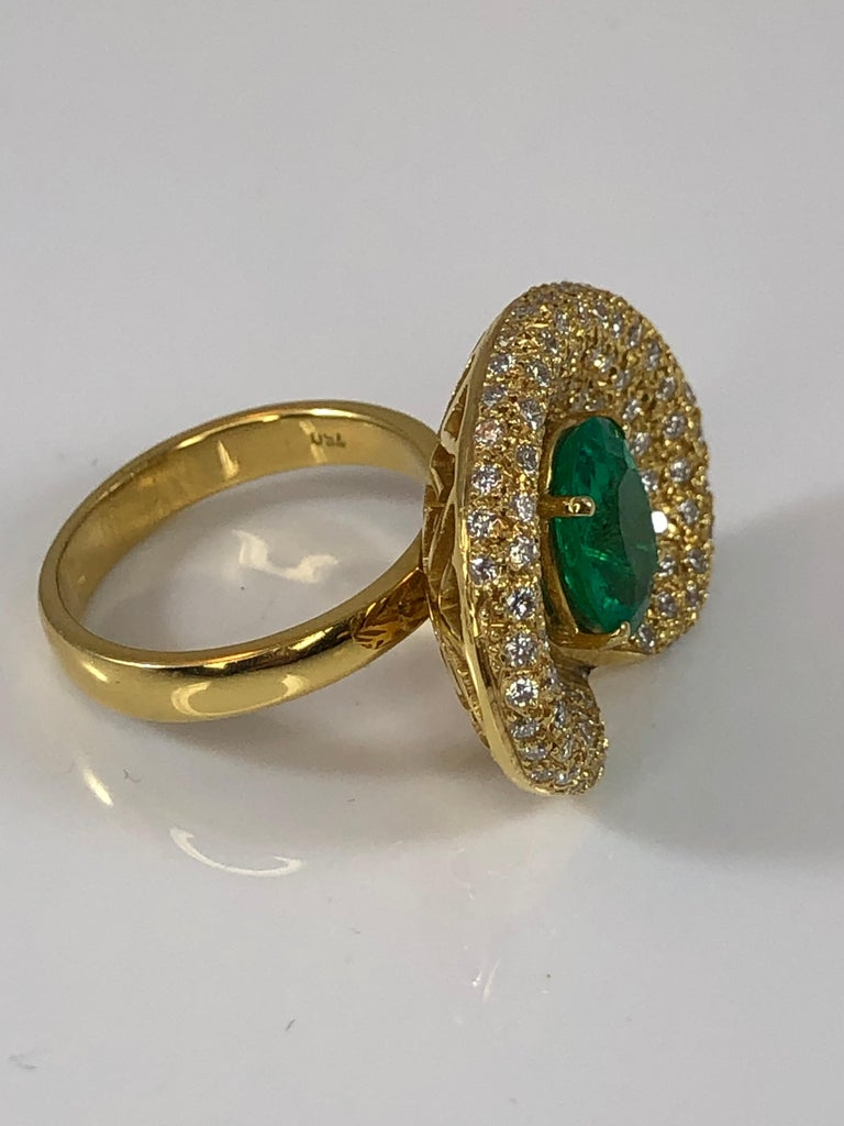 Georgios Collections 18 Karat Yellow Gold Ring with Emerald and Diamonds For Sale 2