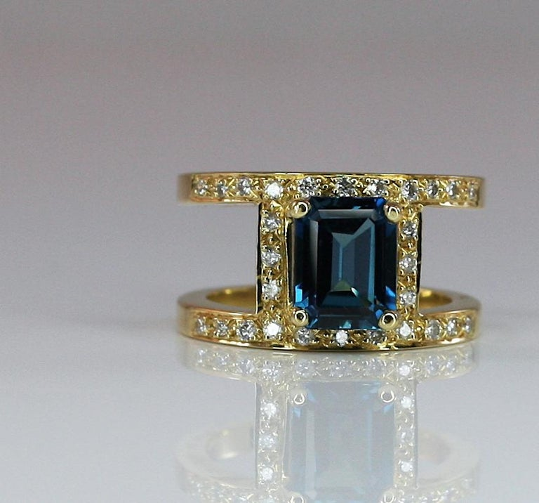 Georgios Collections 18 Karat Yellow Gold Ring with Topaz and Diamonds For Sale 7
