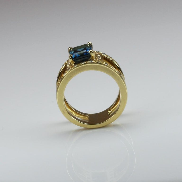 Georgios Collections 18 Karat Yellow Gold Ring with Topaz and Diamonds For Sale 8