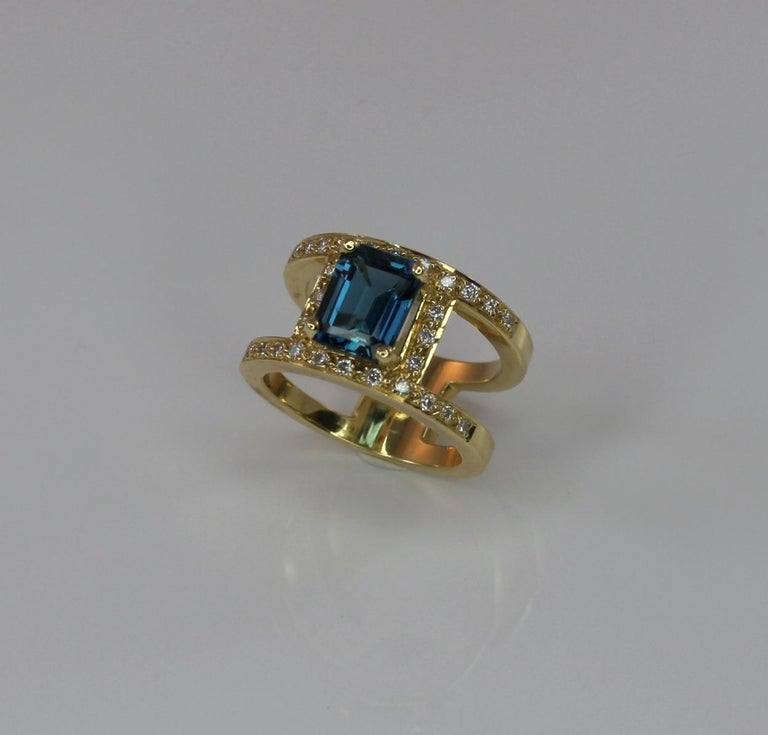 Georgios Collections 18 Karat Yellow Gold Ring with Topaz and Diamonds For Sale 9