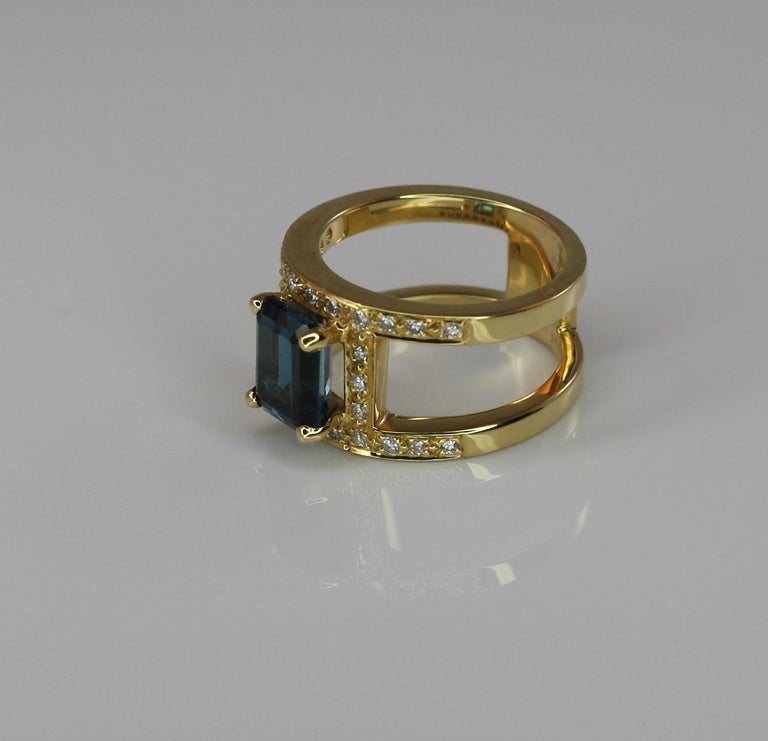 Contemporary Georgios Collections 18 Karat Yellow Gold Ring with Topaz and Diamonds For Sale