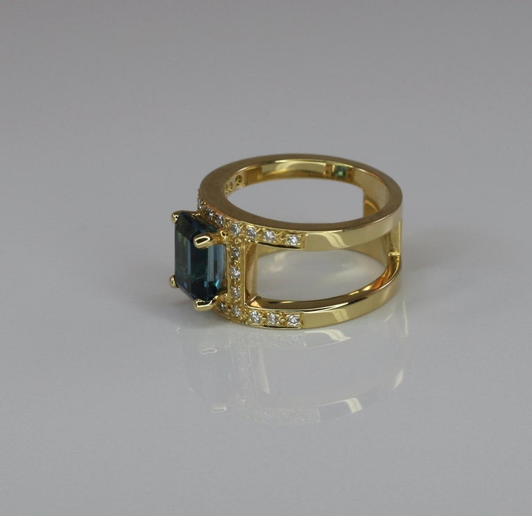 Emerald Cut Georgios Collections 18 Karat Yellow Gold Ring with Topaz and Diamonds For Sale