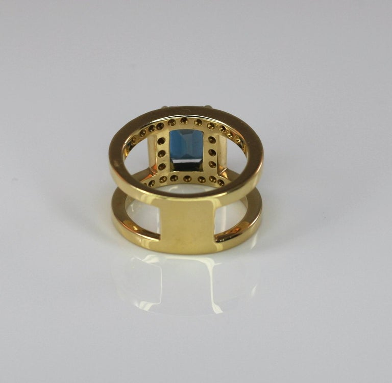 Georgios Collections 18 Karat Yellow Gold Ring with Topaz and Diamonds In New Condition For Sale In Astoria, NY