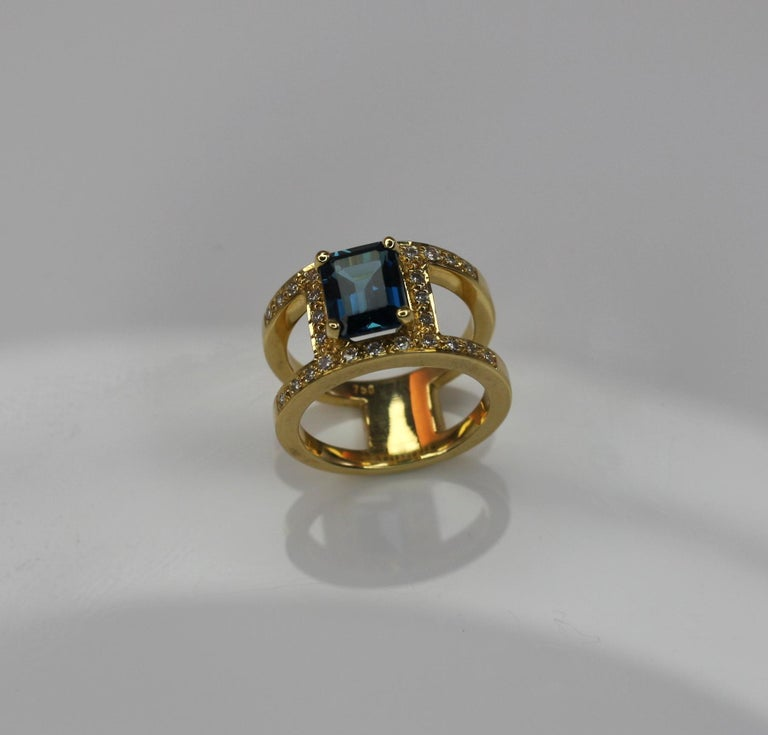 Georgios Collections 18 Karat Yellow Gold Ring with Topaz and Diamonds For Sale 1