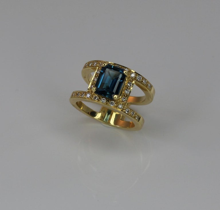 Georgios Collections 18 Karat Yellow Gold Ring with Topaz and Diamonds For Sale 2
