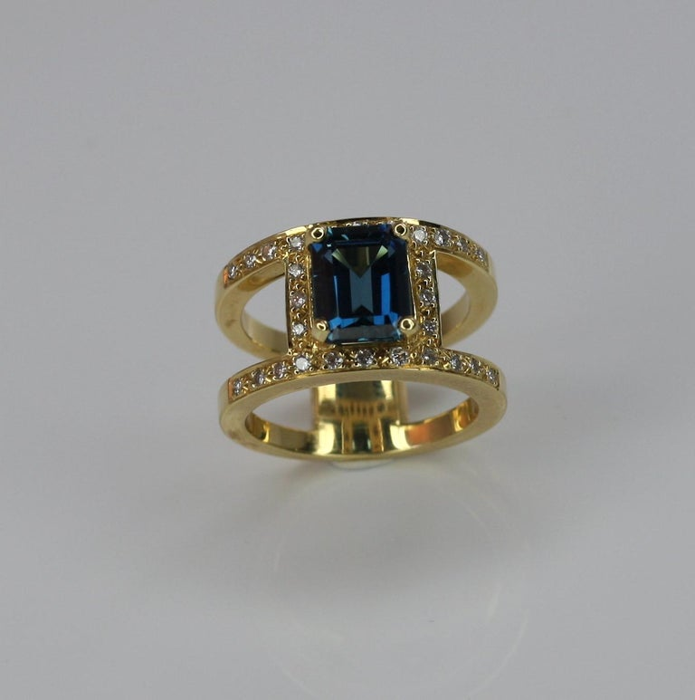 Georgios Collections 18 Karat Yellow Gold Ring with Topaz and Diamonds For Sale 3