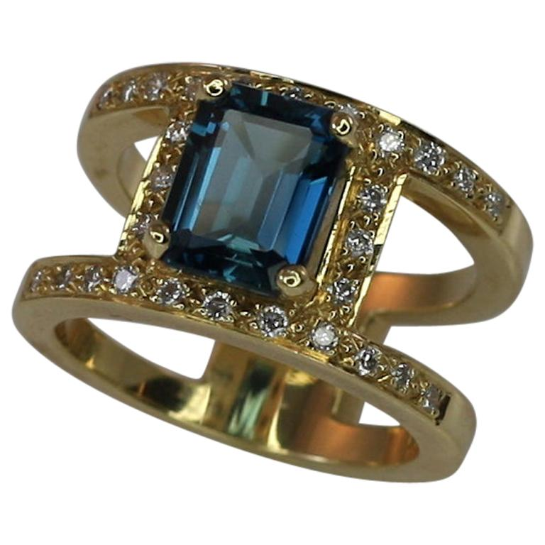 Georgios Collections 18 Karat Yellow Gold Ring with Topaz and Diamonds For Sale