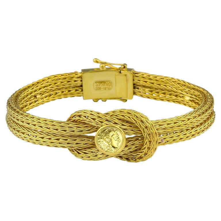 Byzantine Georgios Collections 18 Karat Yellow Gold Rope Bracelet with Alexander Coin For Sale