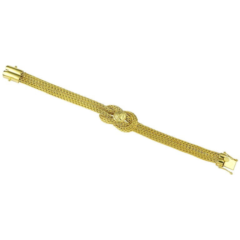 Women's or Men's Georgios Collections 18 Karat Yellow Gold Rope Bracelet with Alexander Coin For Sale