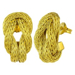 Georgios Collections 18 Karat Yellow Gold Rope Earrings with Hercules Knot