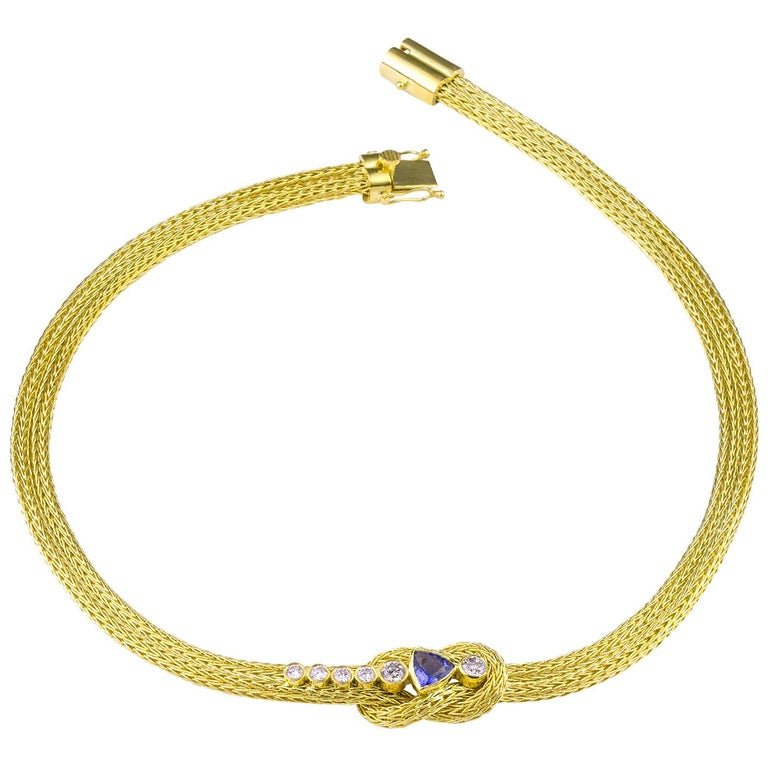 Trillion Cut Georgios Collections 18 Karat Yellow Gold Rope Necklace with Knot and Tanzanite For Sale