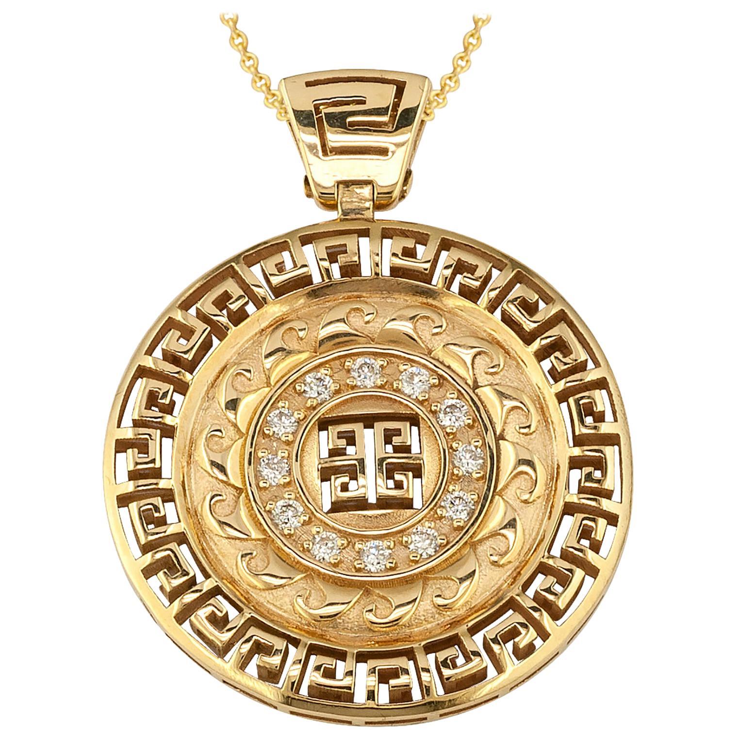 Georgios Collections 18 Karat Yellow Gold Round Diamond Grecian Pendant Necklace