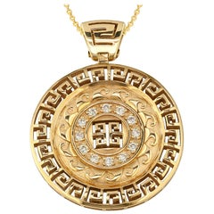 Georgios Collections 18 Karat Yellow Gold Round Diamond Grecian Pendant Necklace
