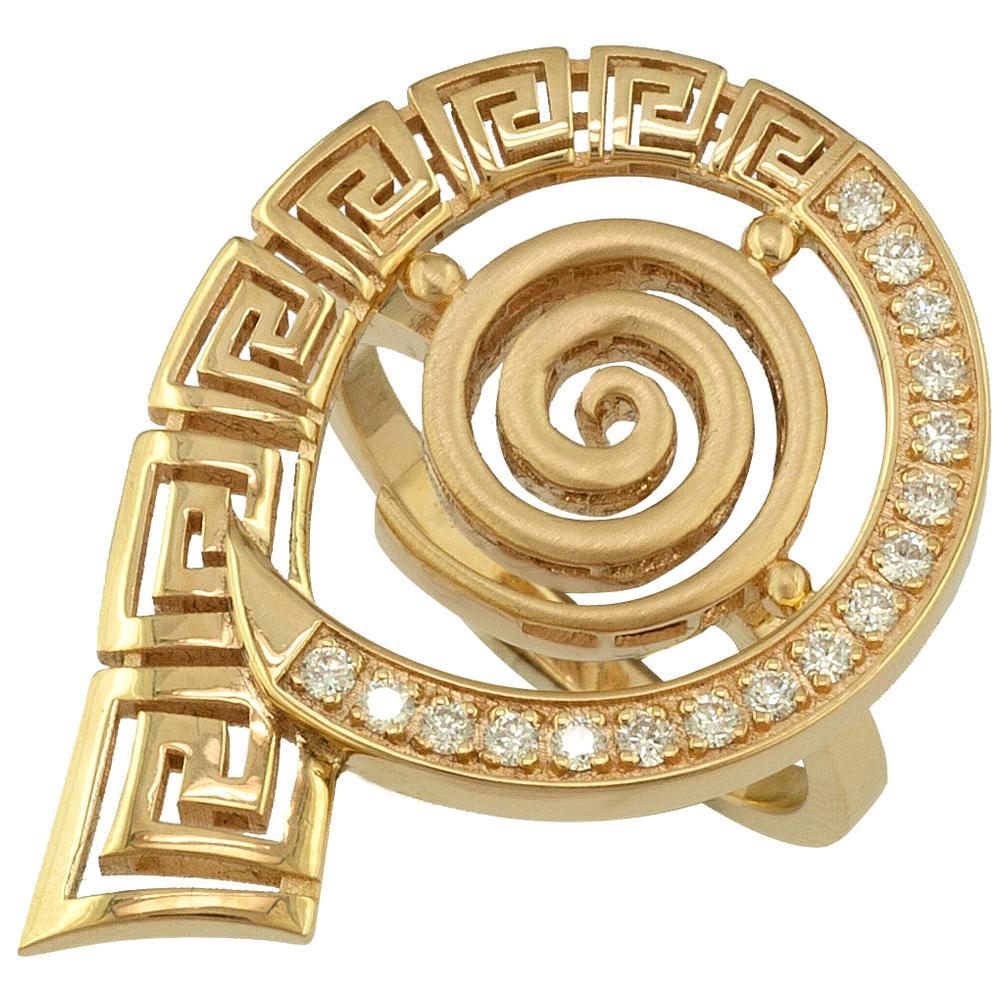Georgios Collections 18 Karat Yellow Gold Round Greek Key Diamond Band Ring