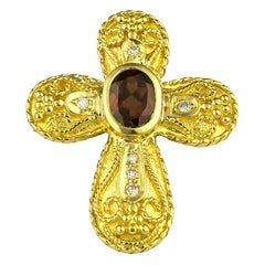 Georgios Collections 18 Karat Yellow Gold Ruby and Diamond Byzantine Style Cross