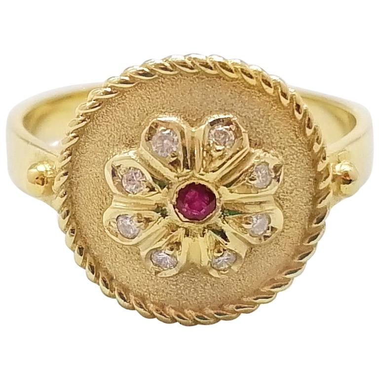 Georgios Collections 18 Karat Yellow Gold Ruby and Diamond Round Band Ring