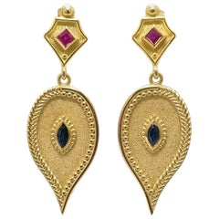 Georgios Collections 18 Karat Yellow Gold Ruby and Sapphire Drop Earrings