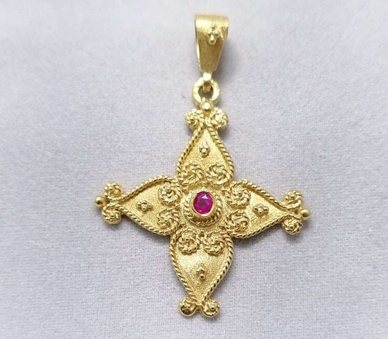 Georgios Collections 18 Karat Yellow Gold Ruby Byzantine Style Cross For Sale 6