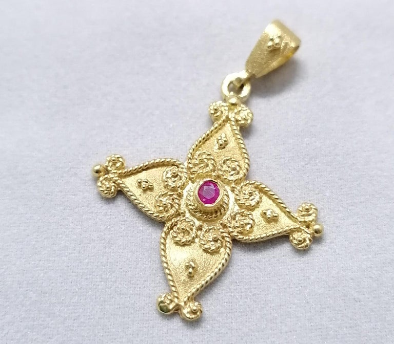 Georgios Collections 18 Karat Yellow Gold Ruby Byzantine Style Cross For Sale 8