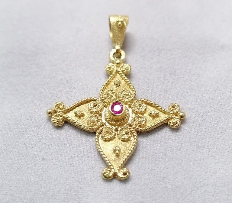Georgios Collections 18 Karat Yellow Gold Ruby Byzantine Style Cross For Sale 10