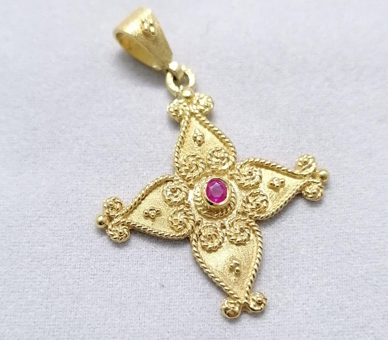 Brilliant Cut Georgios Collections 18 Karat Yellow Gold Ruby Byzantine Style Cross For Sale