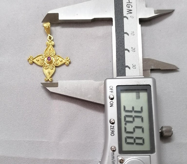 Georgios Collections 18 Karat Yellow Gold Ruby Byzantine Style Cross For Sale 1