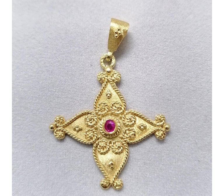 Georgios Collections 18 Karat Yellow Gold Ruby Byzantine Style Cross For Sale 4