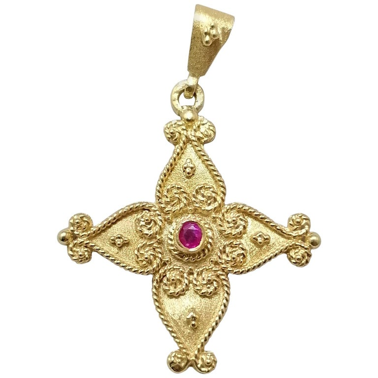 Georgios Collections 18 Karat Yellow Gold Ruby Byzantine Style Cross For Sale