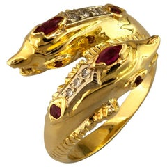 Georgios Collections 18 Karat Yellow Gold Ruby Diamond Double Dolphin Band Ring