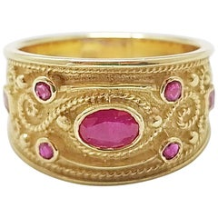 Georgios Collections 18 Karat Yellow Gold Ruby Diamond Etruscan Style Band Ring