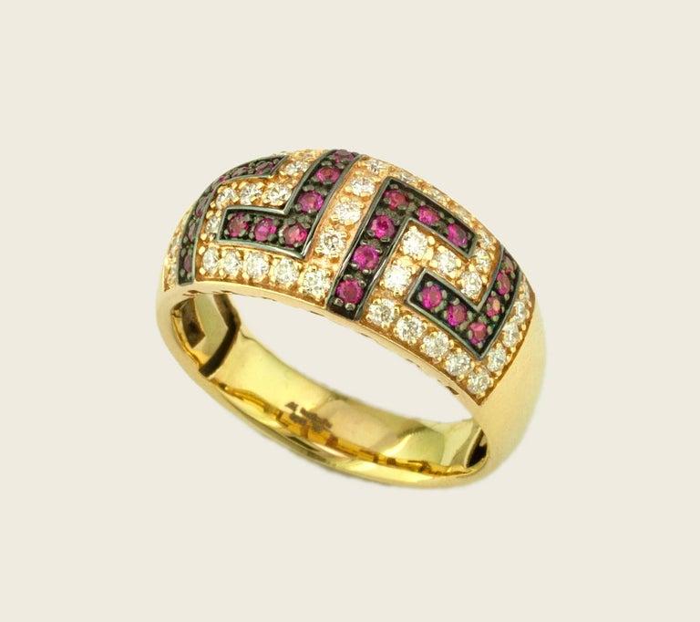 Georgios Collections 18 Karat Yellow Gold Ruby Diamond Two-Tone Greek Key Ring For Sale 4
