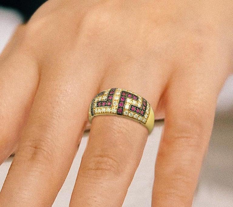 Georgios Collections 18 Karat Yellow Gold Ruby Diamond Two-Tone Greek Key Ring For Sale 5