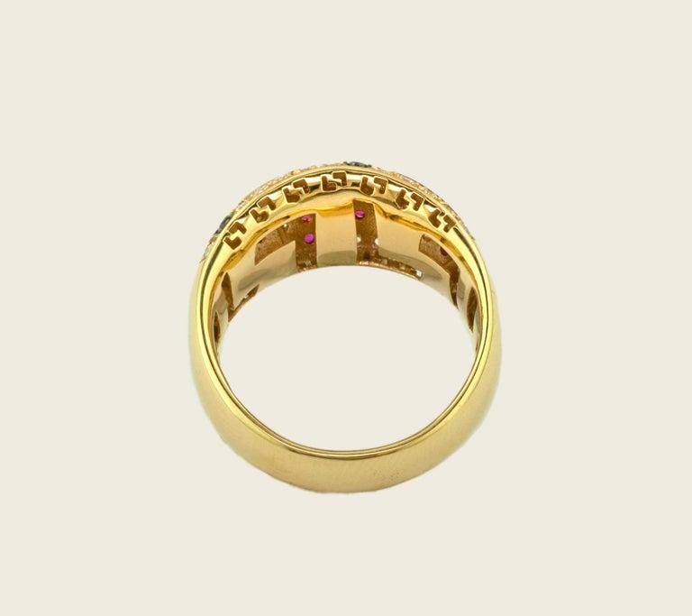 Brilliant Cut Georgios Collections 18 Karat Yellow Gold Ruby Diamond Two-Tone Greek Key Ring For Sale
