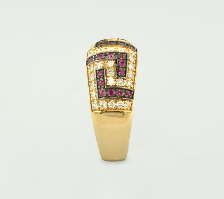 Women's Georgios Collections 18 Karat Yellow Gold Ruby Diamond Two-Tone Greek Key Ring For Sale