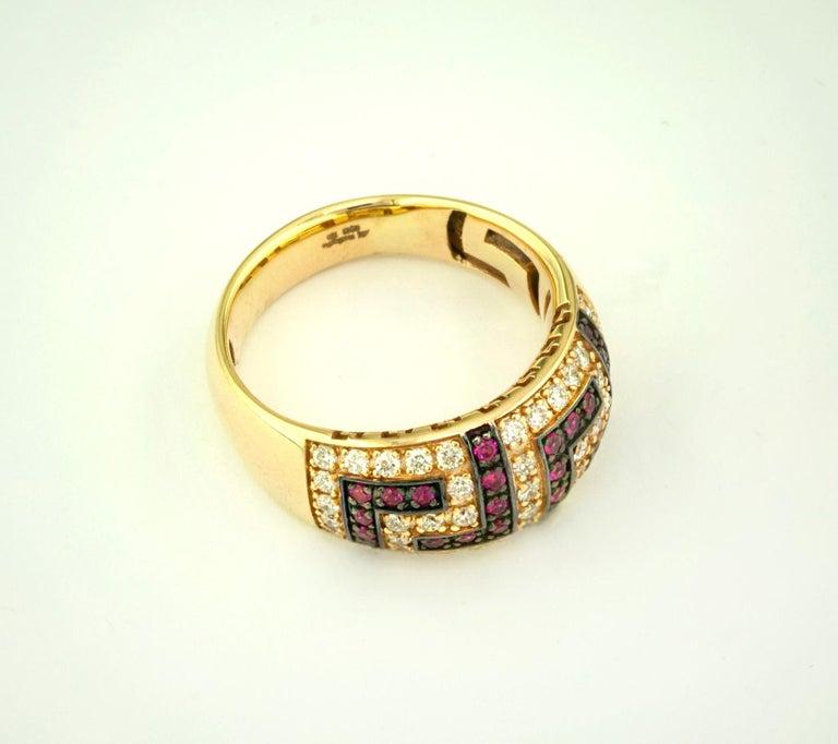Georgios Collections 18 Karat Yellow Gold Ruby Diamond Two-Tone Greek Key Ring For Sale 1