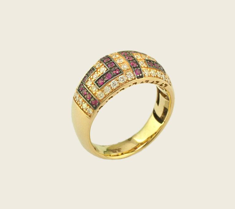Georgios Collections 18 Karat Yellow Gold Ruby Diamond Two-Tone Greek Key Ring For Sale 3
