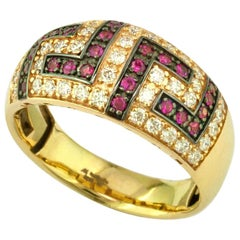 Georgios Collections 18 Karat Yellow Gold Ruby Diamond Two-Tone Greek Key Ring