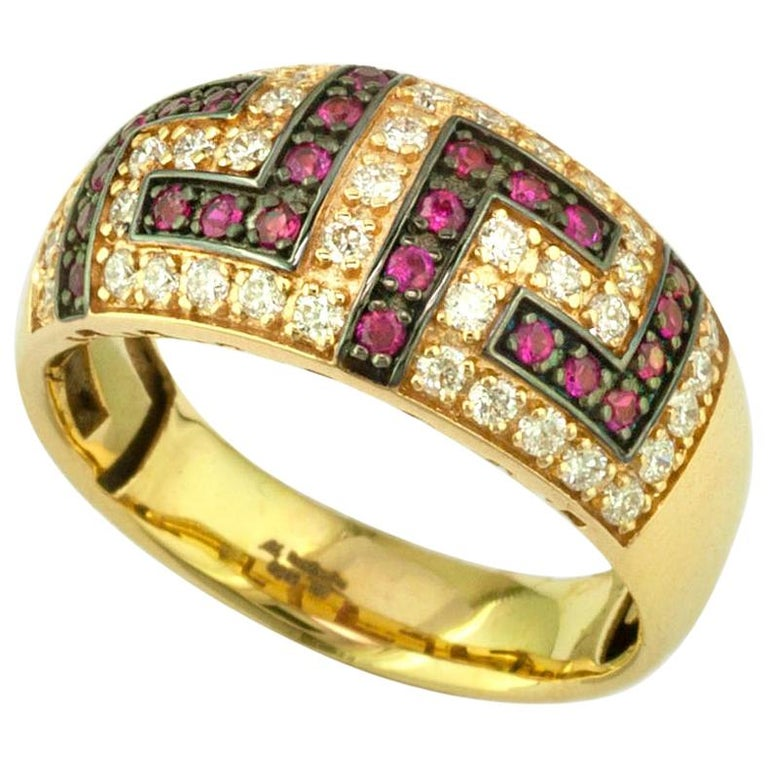 Georgios Collections 18 Karat Yellow Gold Ruby Diamond Two-Tone Greek Key Ring For Sale