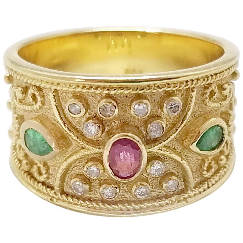 Georgios Collections 18 Karat Yellow Gold Ruby Emerald and Diamond Band Ring