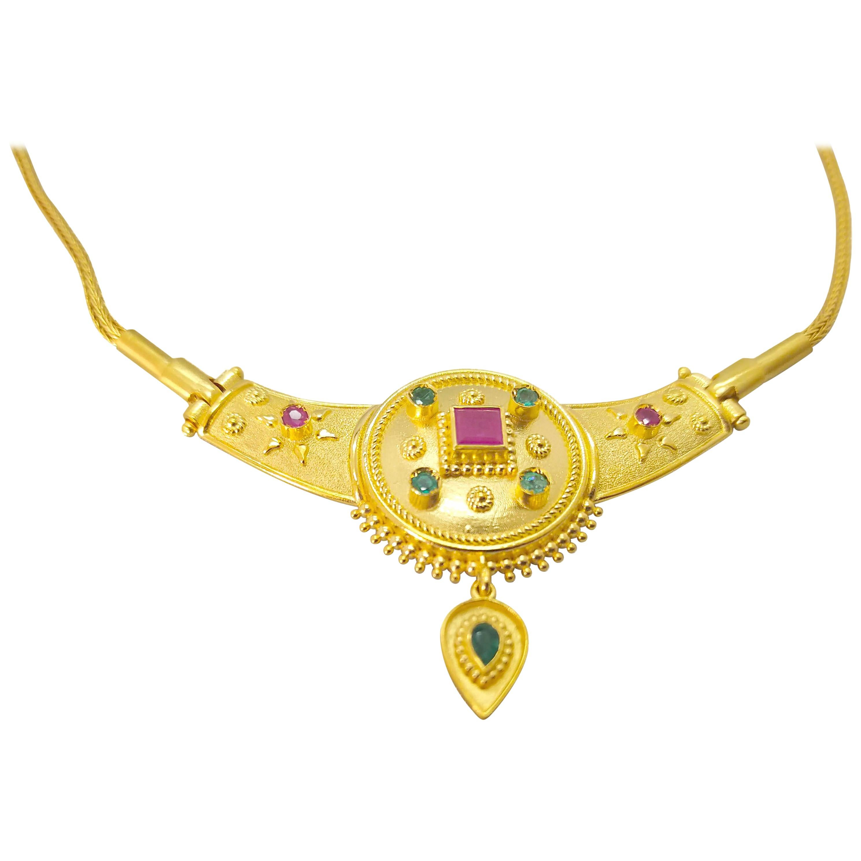 Georgios Collections 18 Karat Yellow Gold Ruby Emerald Drop Pendant Necklace