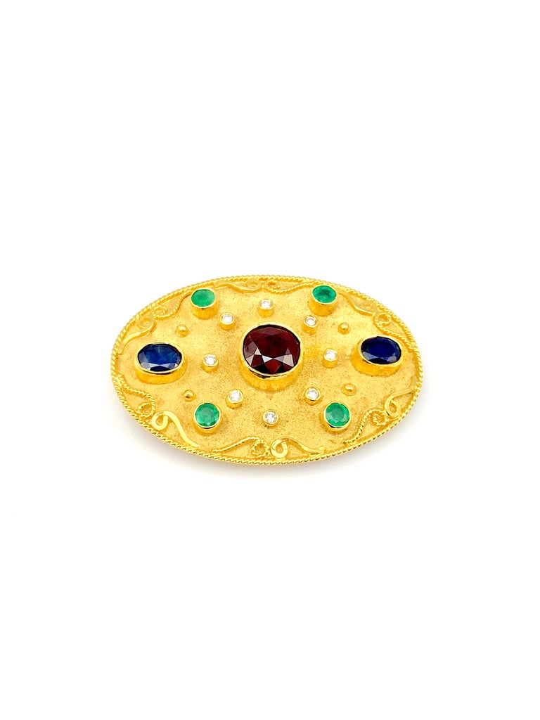 S.Georgios designer Pendant - Brooch is all handmade from solid 18 Karat White Gold and custom-made. This stunning jewel is microscopically decorated with granulation work with yellow gold beads and wires and has a unique velvet background. This