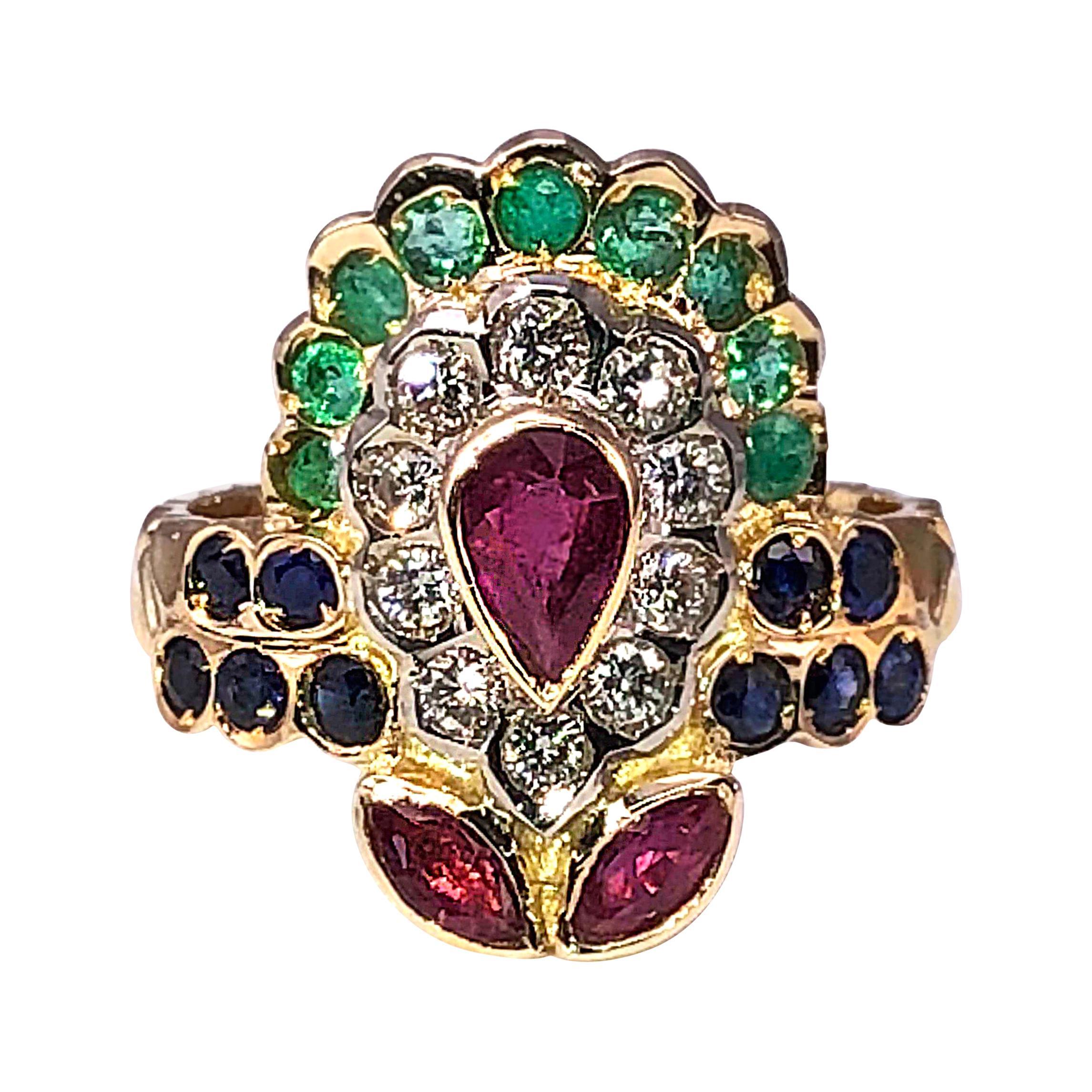 Georgios Collections 18 Karat Yellow Gold Ruby Emerald Sapphire Diamond Ring