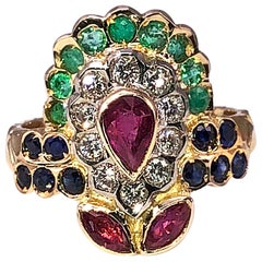 Georgios Collections 18 Karat Yellow Gold Ruby Emerald Sapphire Diamond Ring