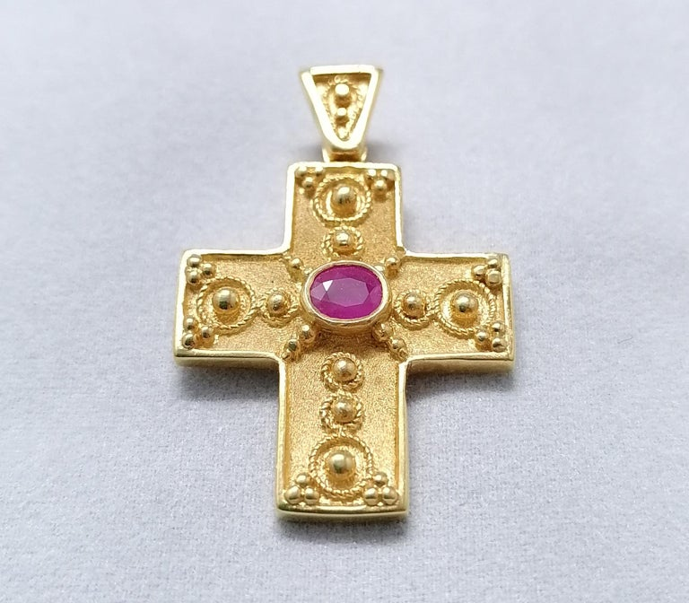 Georgios Collections 18 Karat Yellow Gold Ruby Granulated Cross Pendant For Sale 5